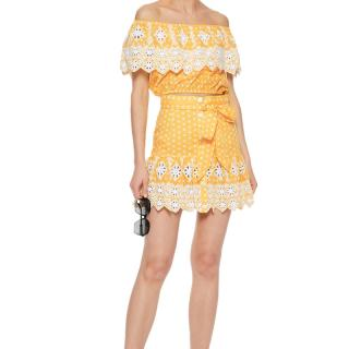 Miguelina Yellow Broderie Anglaise Off Shoulder Top & Mini Skirt