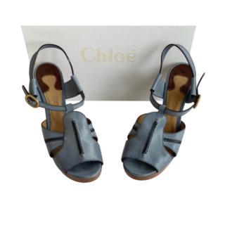 Chloe Blue Calfskin Wedge Sandals