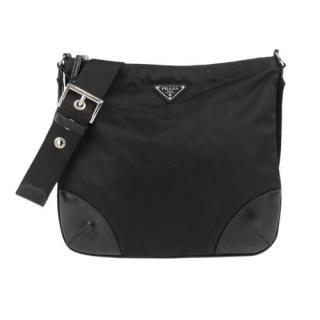 Prada Nylon Leather Trim Messenger Bag