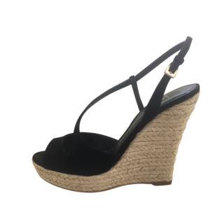 Dior Black Suede Croisette Wedge Sandals