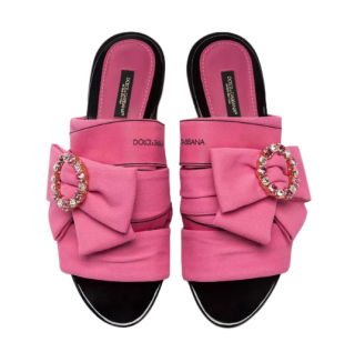 Dolce & Gabbana Pink Logo Bow Slides