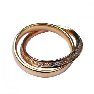 Bespoke 18ct Yellow & Rose Gold Diamond Interlocking Band Ring