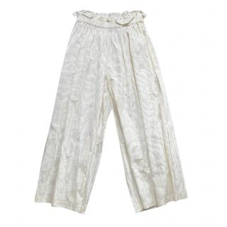Gucci Ivory Jacquard Wide Leg Trousers