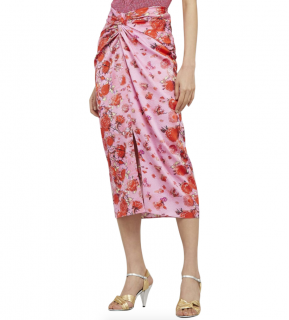 Peter Pilotto Floral Textured Silk Twisted Midi Skirt