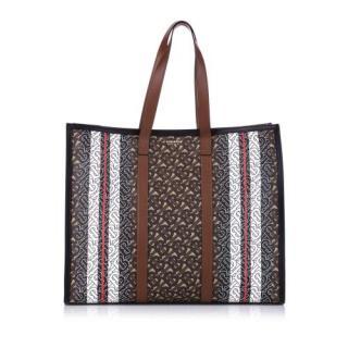 Burberry Monogram Stripe E-canvas Tote Bag