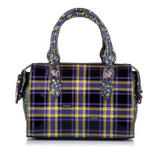Versace Purple Checked Medusa Boston Bag