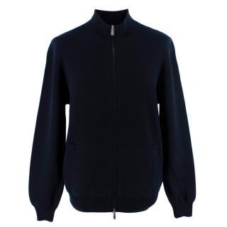 Brunello Cucinelli Navy Cashmere Zip Up Cardigan