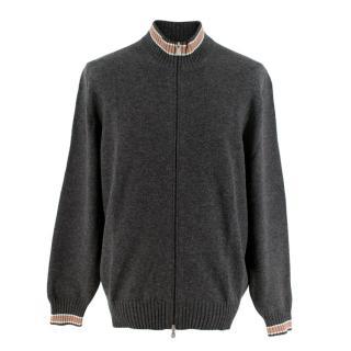 Brunello Cucinelli Grey & Beige Cashmere Zip Up Cardigan