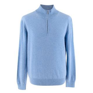Ermenegildo Zegna Bright Blue Cashmere Quarter Zip Cardigan