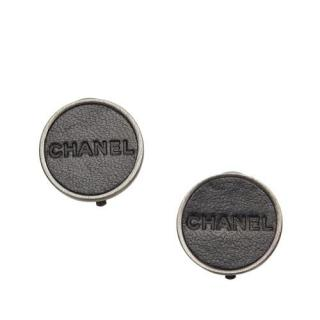 Chanel Silver Tone Leather Logo Clip-on Earrings