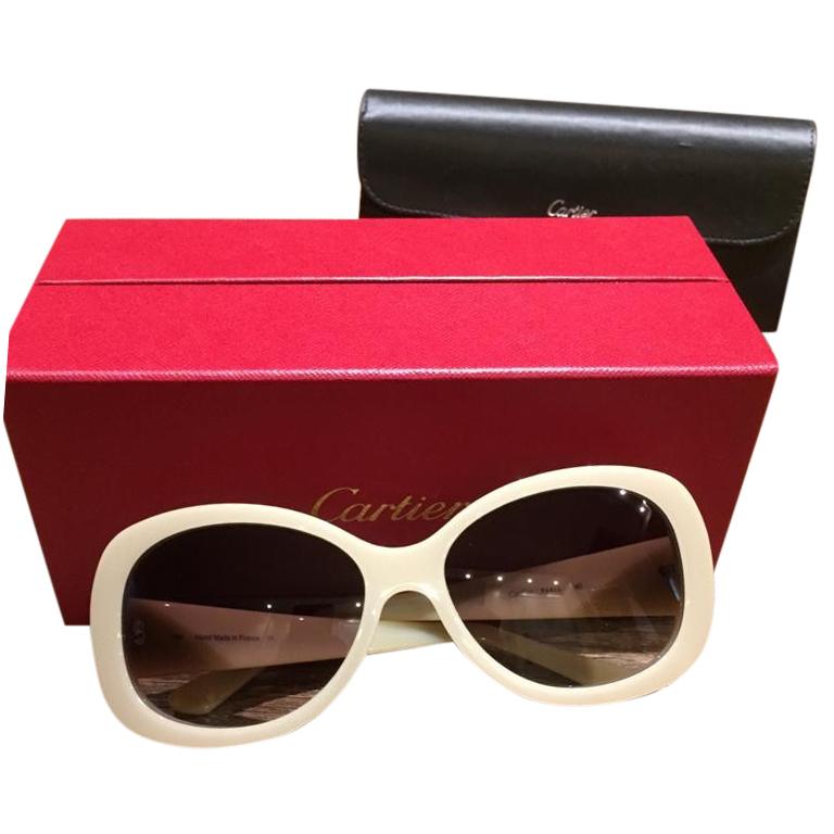 Cartier Beige Rounded Must De Cartier Sunglasses