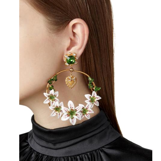 Dolce & Gabbana Lily-embellished Hoop Earrings