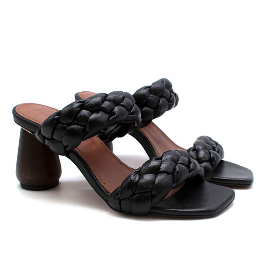 Martinez Black Leather Braided Strappy Heeled Mules