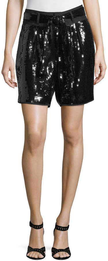 See By Chloe Black Belted Sequined Shorts