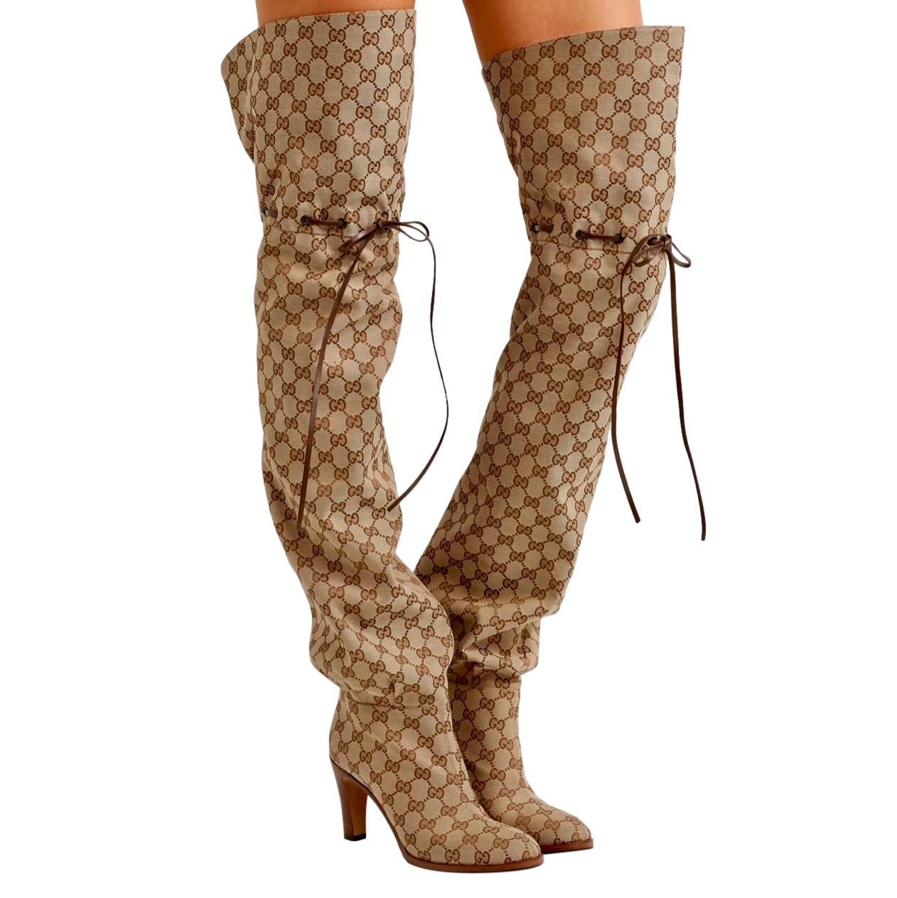 Gucci Monogram Jacquard Drawstring OTK Boots