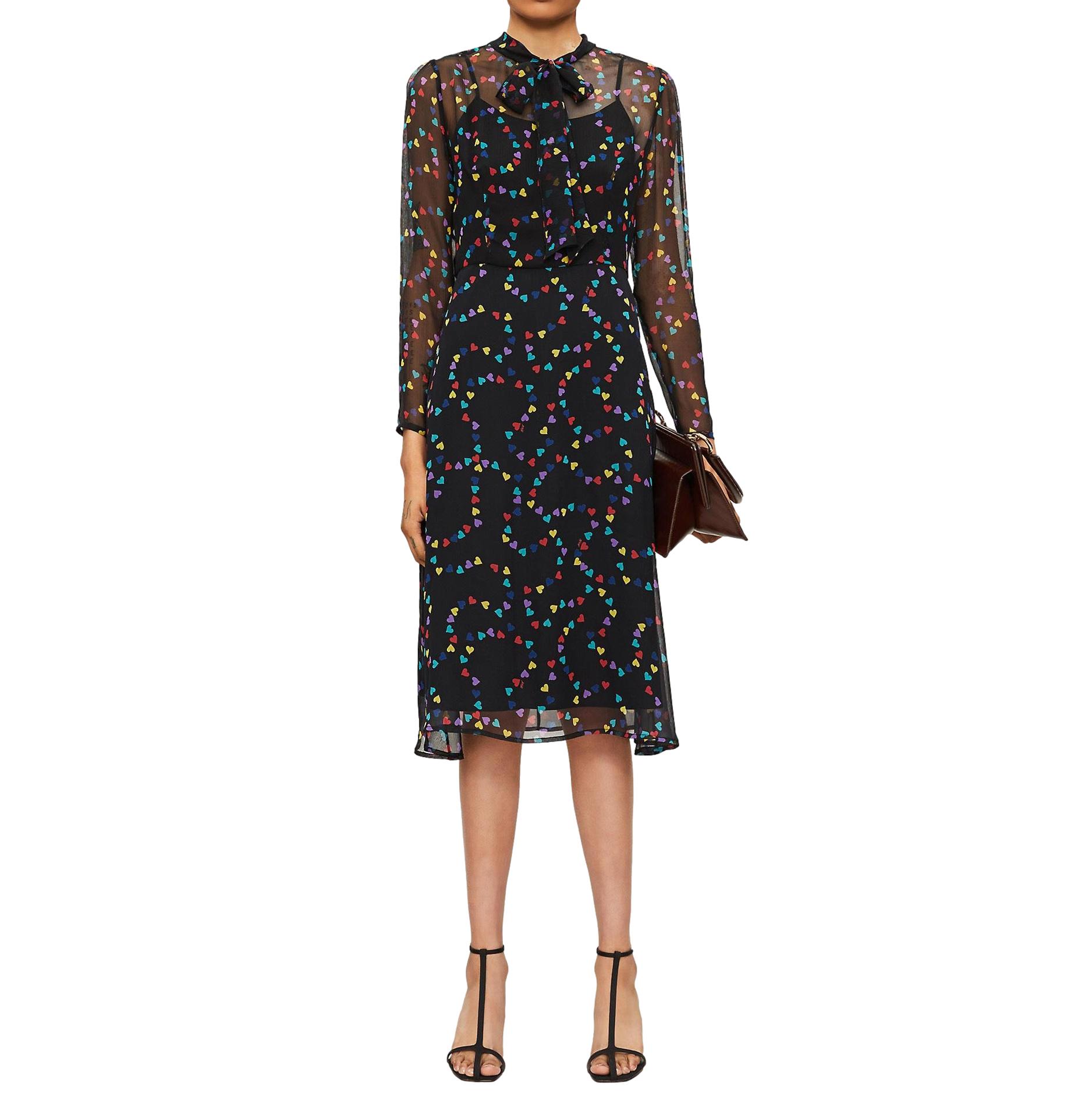 HVN Elisa Heart-print Silk-chiffon Midi Dress