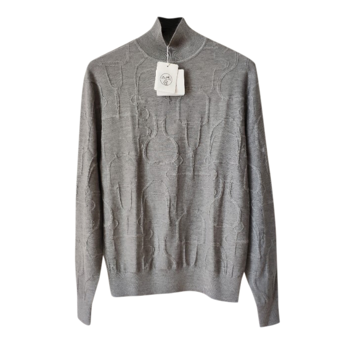 Hermes Grey Cashmere & Silk Jacquard Jumper