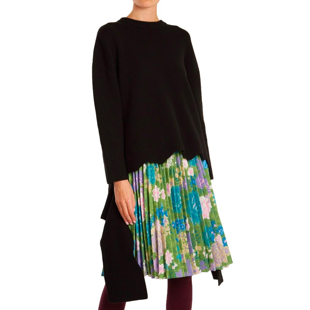 Balenciaga black ribbed-knit cashmere-blend sweater.