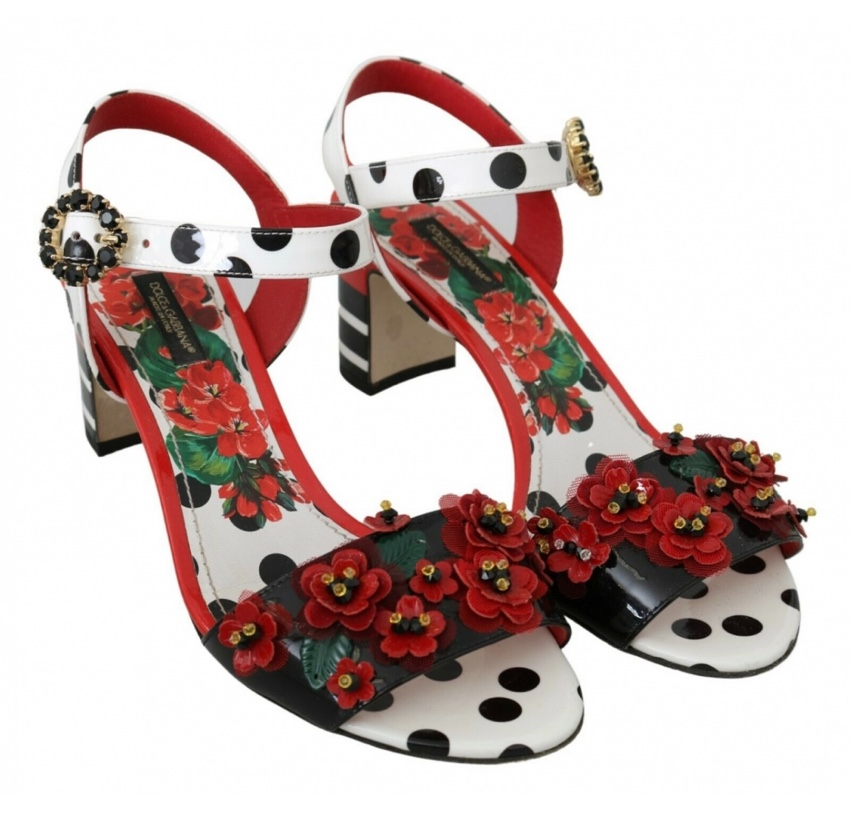 Dolce & Gabbana Polka Dot Floral Applique Sandals