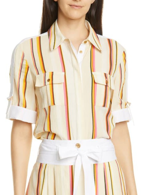 Tory Burch Striped Cheesecloth Blouse