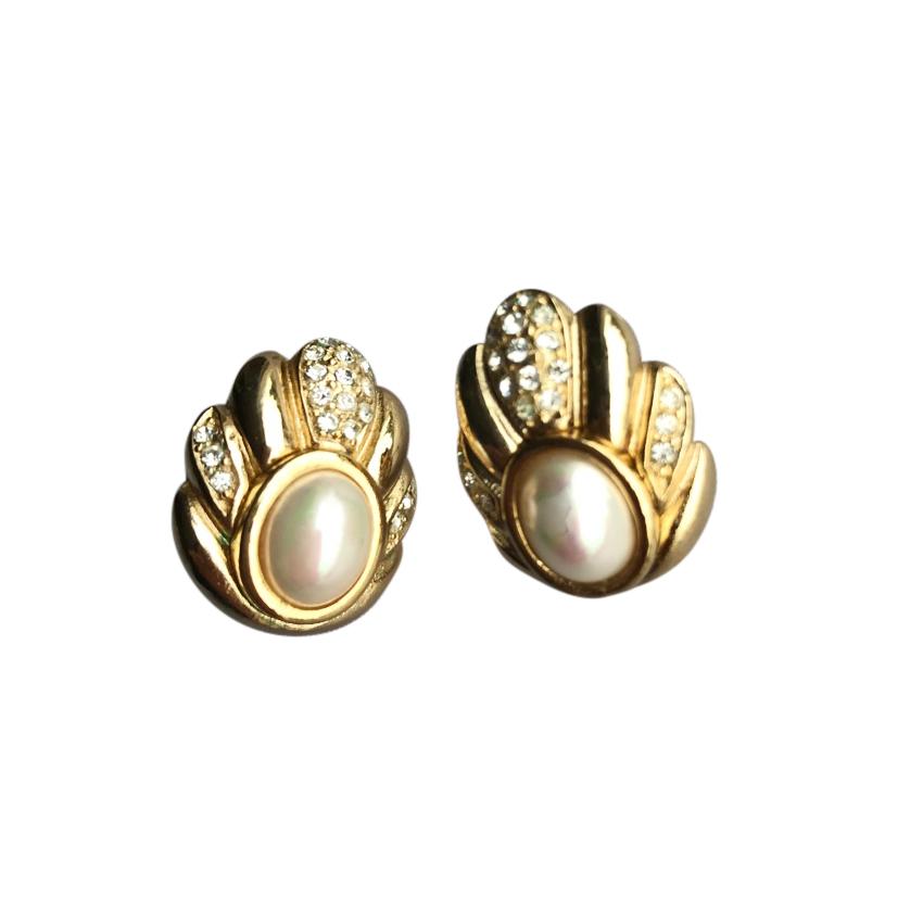 Christian Dior Vintage Crystal & Faux Pearl Earrings