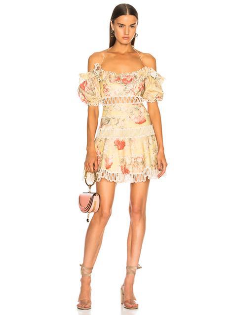 Zimmermann Peach Floral Melody Off Shoulder Dress