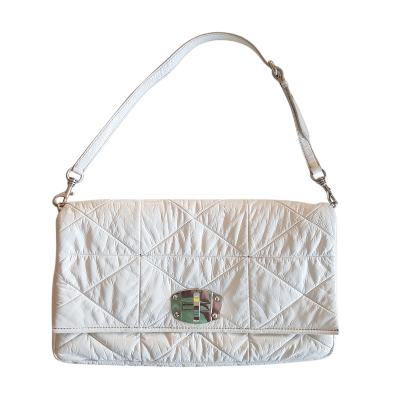 Miu Miu White Quilted Leather Shoulder Bag