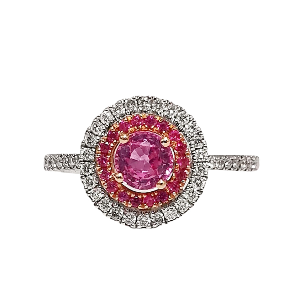 Lucie Campbell 18ct White Gold Pink Sapphire & White Diamond Ring