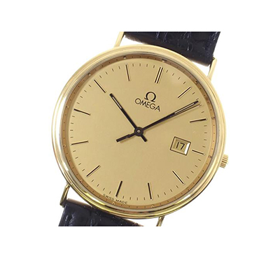 Omega De Ville 18kt Yellow Gold Watch with Crocodile Strap