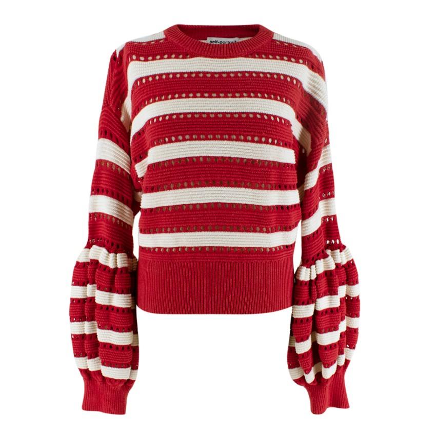 Self Portrait Red Striped Balloon Sleeve Knit Sweater