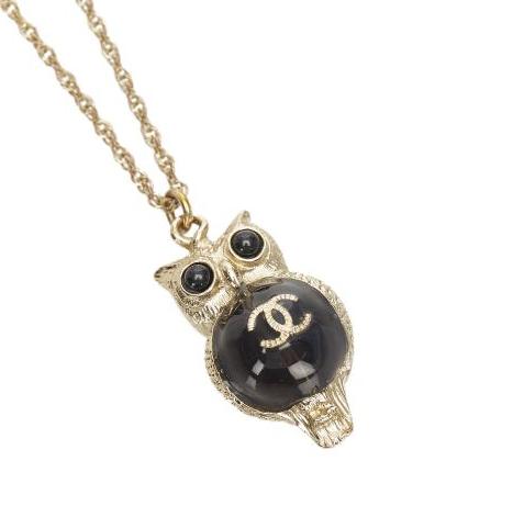 Chanel CC Gold Tone Enamel Owl Pendant Necklace