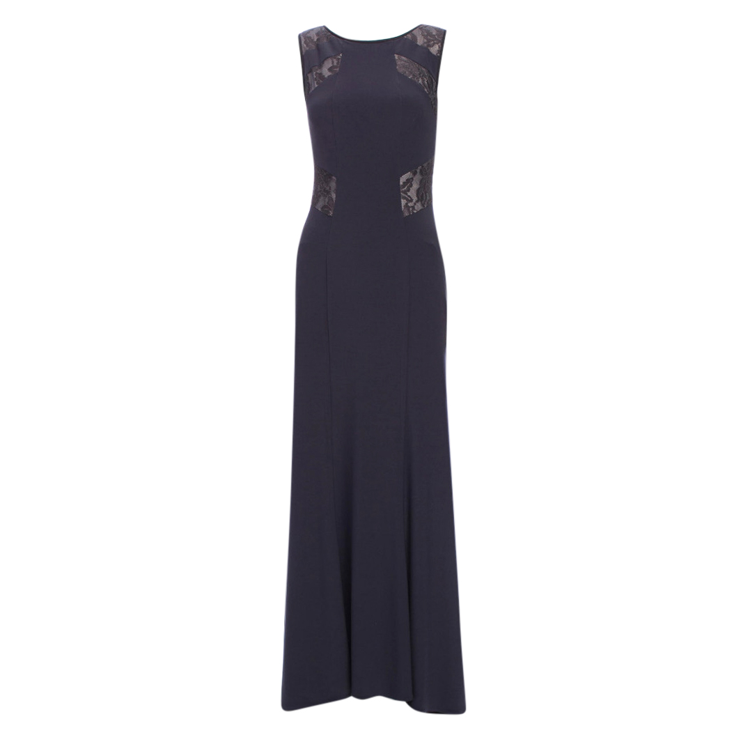 Vera Wang Grey Lace Panelled Gown