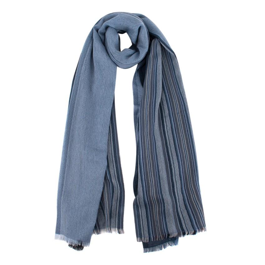 Loro Piana Blue Striped Cashmere Scarf