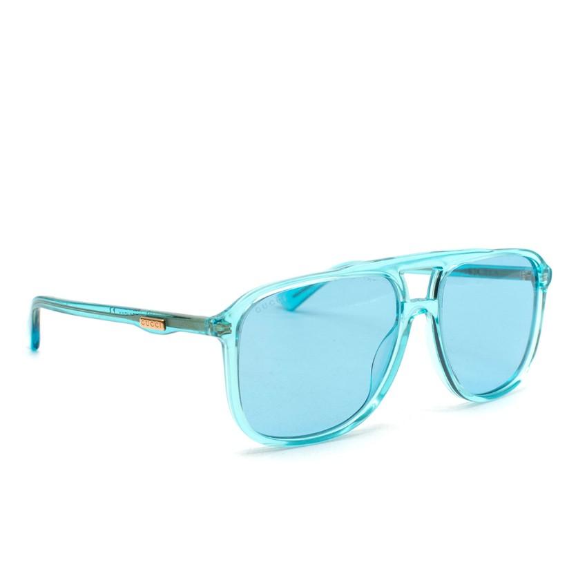 Gucci Turquoise Translucent Squared Sunglasses