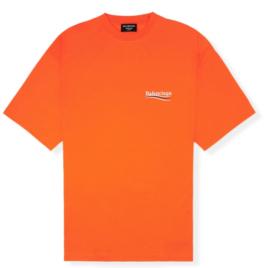 Balenciaga Men's Political Logo Jersey Oversized Orange T Shirt