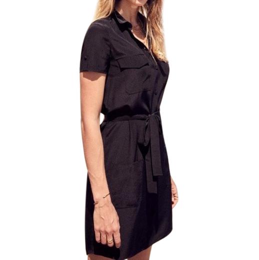 Sezane Black Silk Shirt Dress