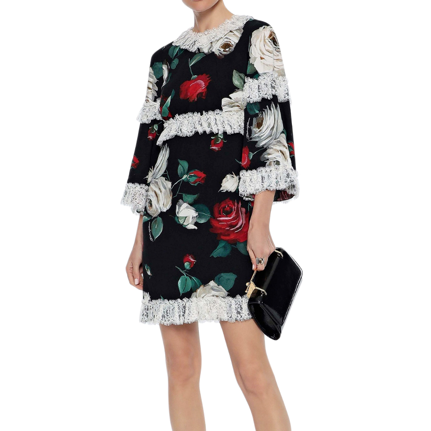 Dolce & Gabbana Rose Print Lace Trimmed Dress