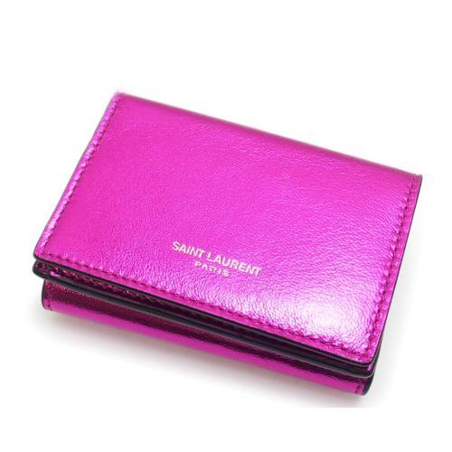 Saint Laurent Pink Metallic Compact Wallet