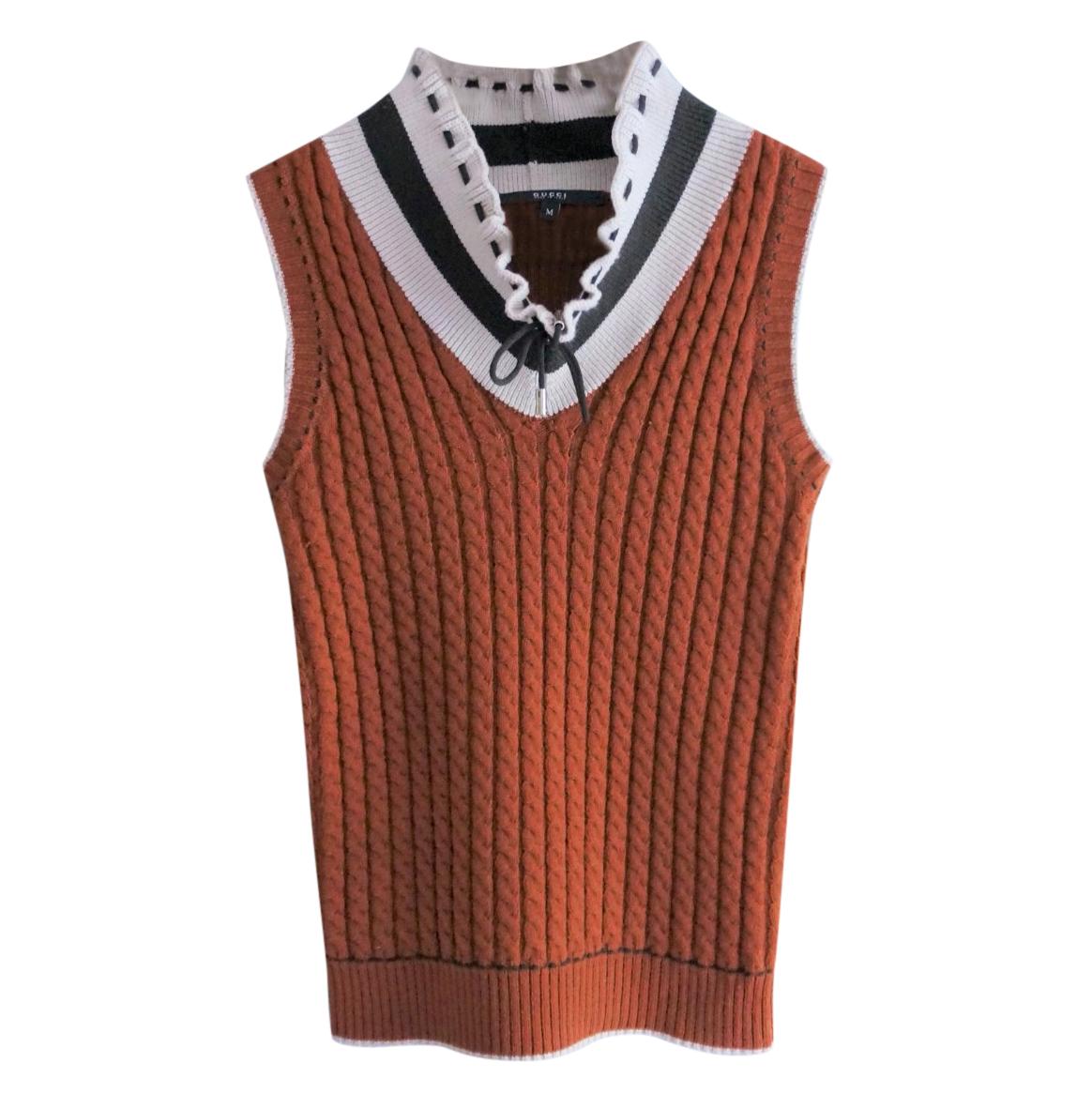 Gucci Ruffled Neck Sleeveless Ribbed Knit Vest