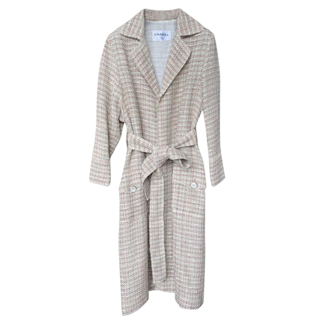 Chanel Paris/Cuba Lightweight Tweed Belted Coat