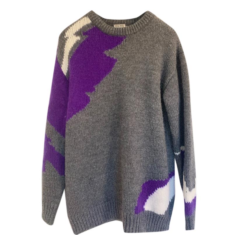 Miu Miu Grey & Purple Knit Jumper