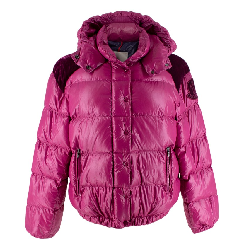 Moncler Fuchsia with a Hood Padded Puffer Jacket