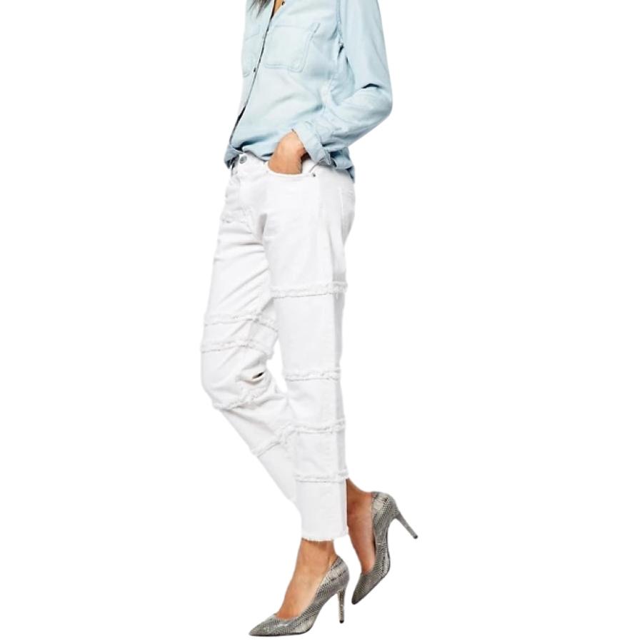 Current/Elliot The Fray White Seamed Boyfriend Jeans