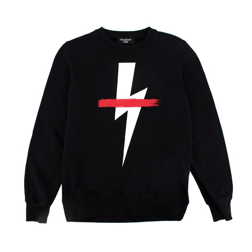 Neil Barret Black Lightning Bold Print Cotton Sweatshirt