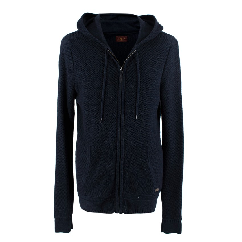 7 for All Mankind Navy Cotton Knit Zip Up Hoodie