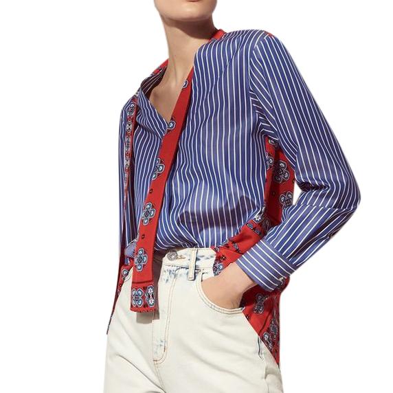 Sandro Striped/Red Paisley Print Convertible Shirt