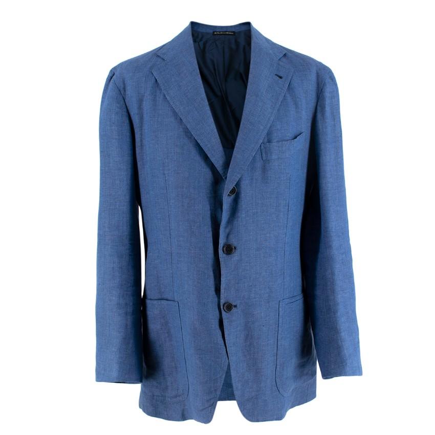 La Vera Single Breasted Blue Linen Blazers