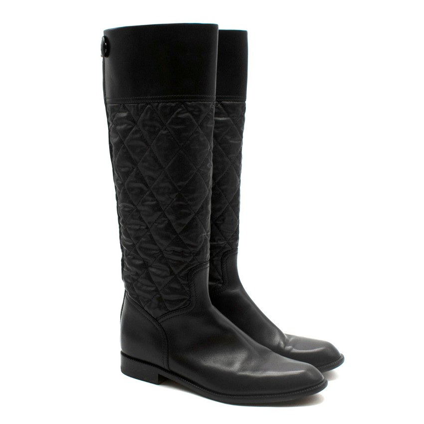 Chanel Black Quilted Leather Flat Long Boots