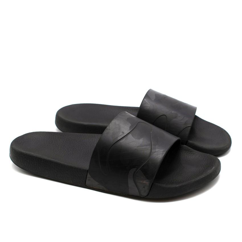 Valentino Black Camouflage Black Slide Sandals