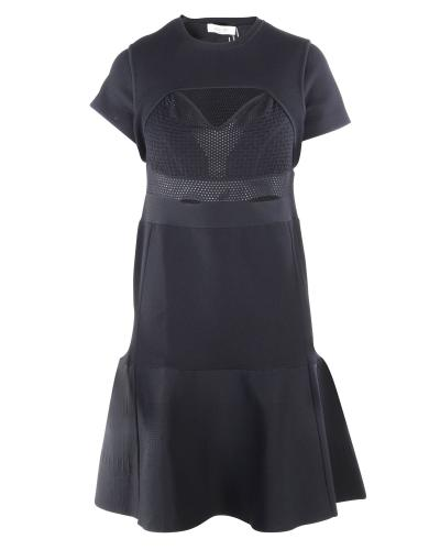 Valentino Black Mesh Panelled Cut-Out Black Dress